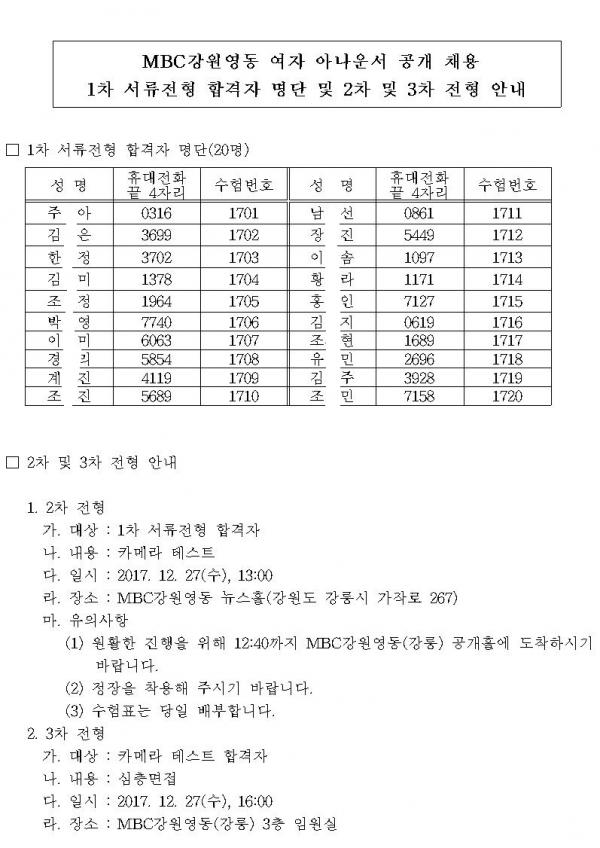 MBC강원영동여자아나운서공채1차서류전형합격자및2차및3차전형안내.png